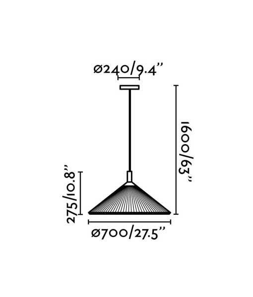 Medidas colgante granate 70 cm diámetro HUE IN