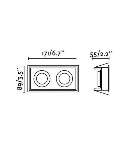Medidas empotrable blanco rectangular 2 luces HYDE