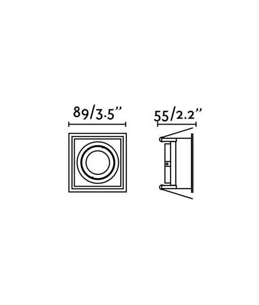 Medidas empotrable negro cuadrado orientable HYDE