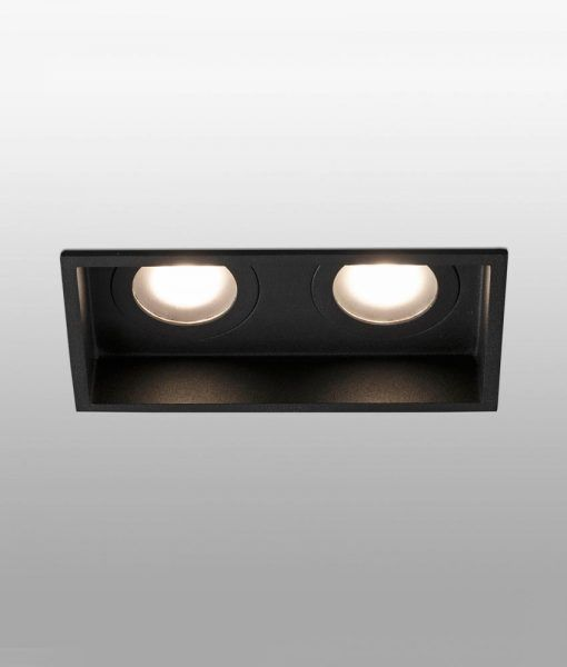 Empotrable negro rectangular 2 luces HYDE