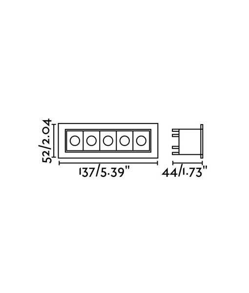 Medidas empotrable para techo negro TROOP-5 LED