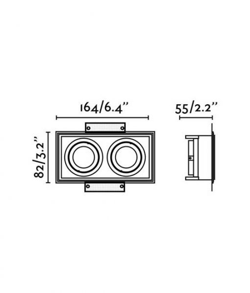 Medidas empotrable sin marco 2 luces orientable HYDE