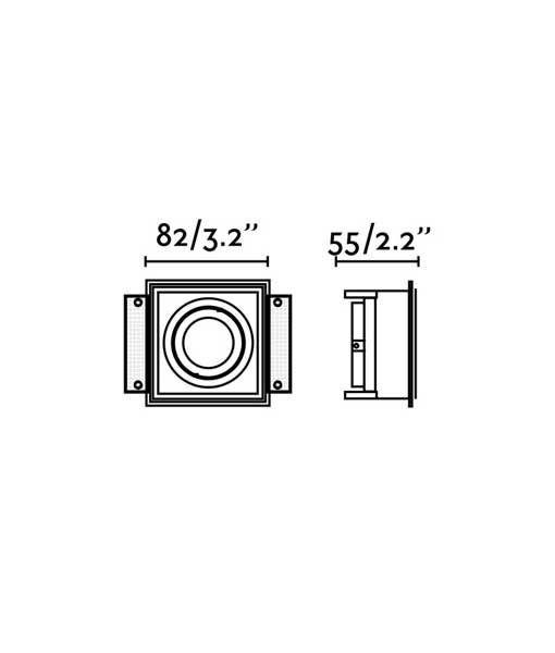 Medidas empotrable sin marco orientable HYDE cuadrado