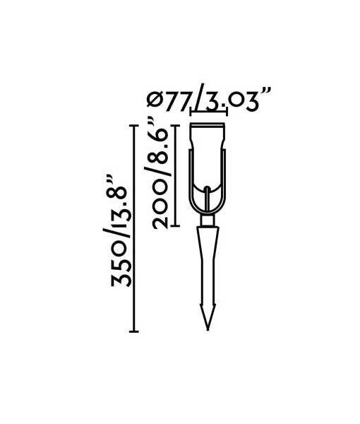 Medidas estaca negra de 38 cm de altura SLOT-3 LED