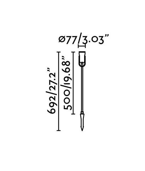 Medidas estaca negra de 69 cm de altura SLOT-4 LED