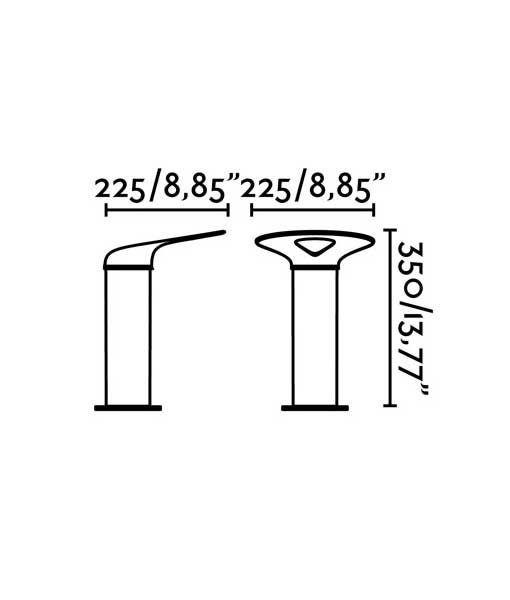 Medidas lámpara baliza gris oscura 35 cm de alto LOTUS LED
