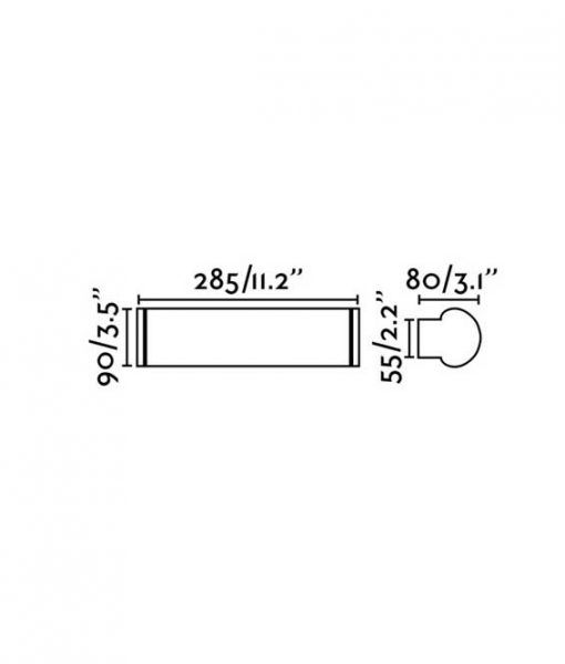 Medidas lámpara de baño cromo 9W DANUBIO LED