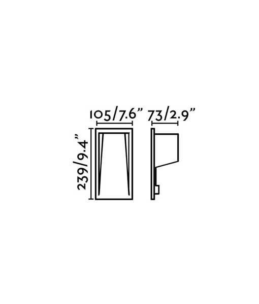 Medidas lámpara empotrable vertical blanca SOUN-2 LED