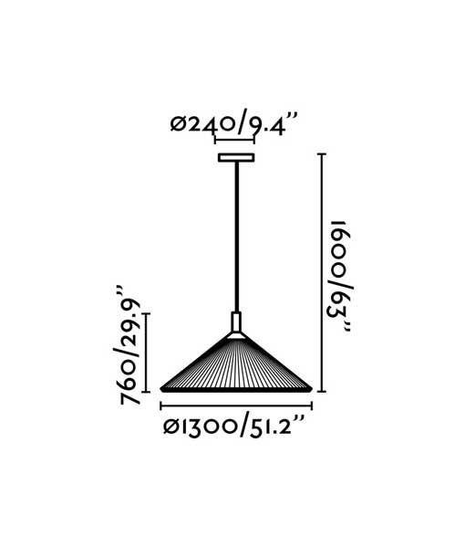 Medidas lámpara granate 130 cm diámetro HUE IN