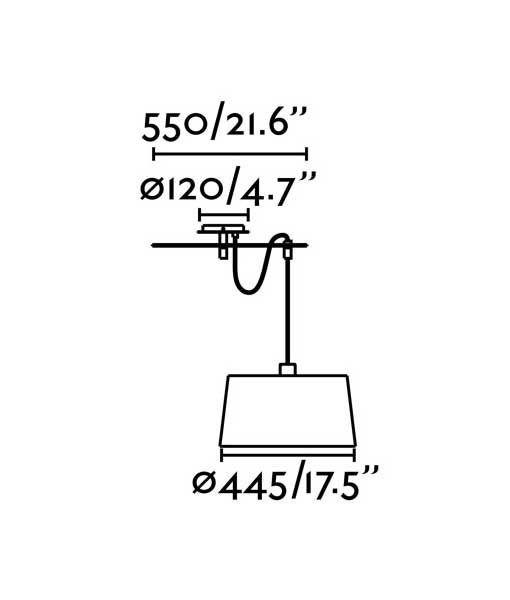 Medidas lámpara negra de diseño FUSTA