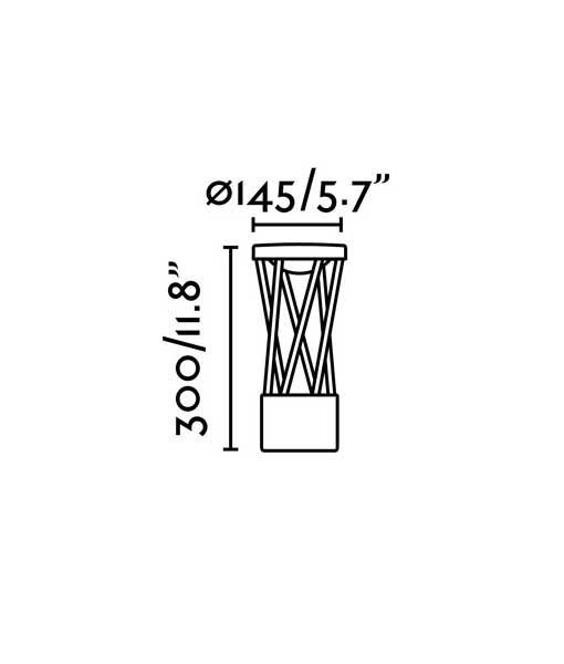 Medidas lámpara sobremuro gris oscuro TWIST LED