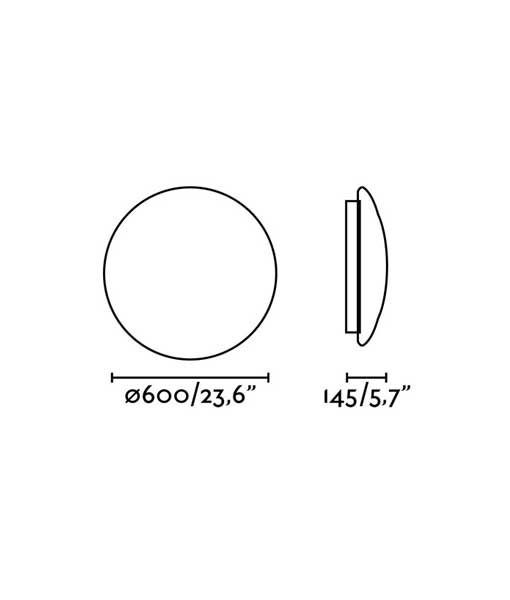 Medidas plafón dimable 60 cm diámetro blanca BIC LED
