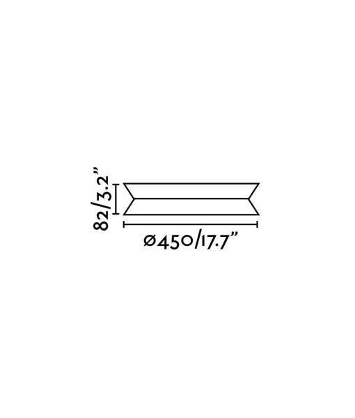 Medidas plafón TENDER LED negro 45 cm diámetro