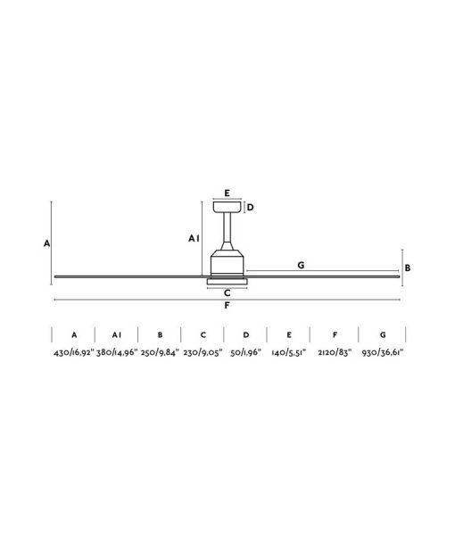Medidas ventilador blanco grande 210 cm de diámetro CIES
