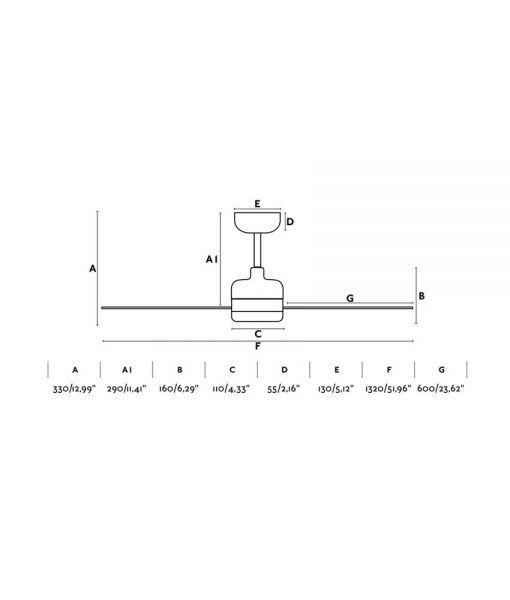 Medidas ventilador blanco motor bajo consumo 132 cm diámetro NU