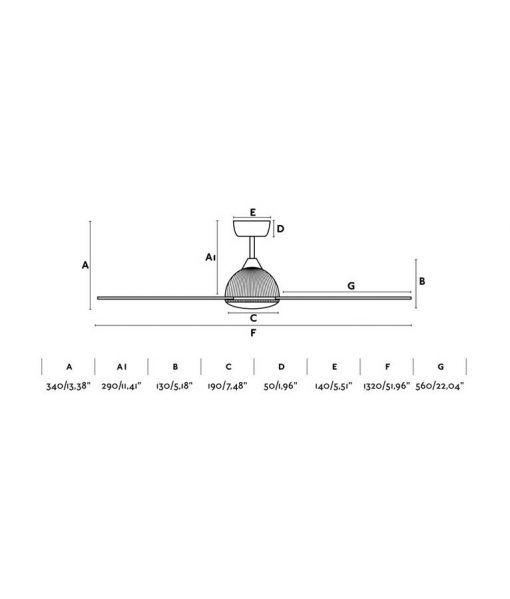 Medidas ventilador blanco motor DC 132 cm diámetro GRID