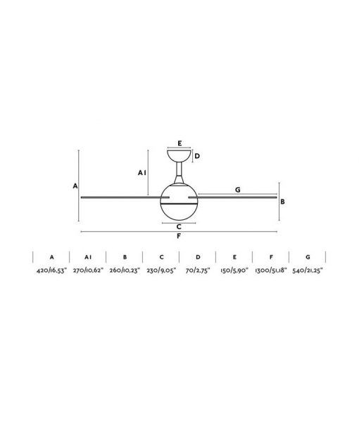 Medidas ventilador blanco motor DC 132 cm diámetro IZARO LED