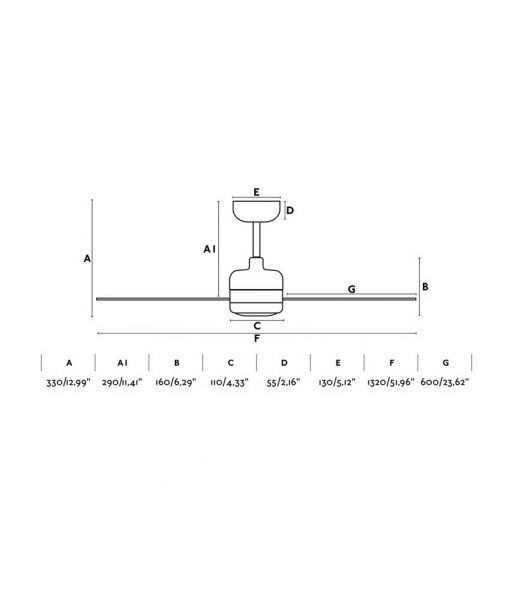 Medidas ventilador blanco motor DC 132 cm diámetro NU LED
