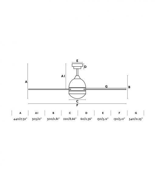 Medidas ventilador color blanco 132 cm diámetro TABARCA