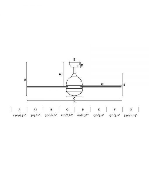Medidas ventilador gris 132 cm diámetro TABARCA