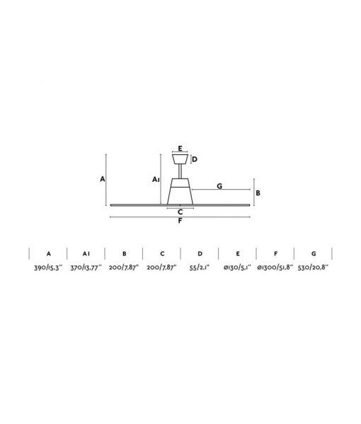 Medidas ventilador gris motor DC 130 cm diámetro TYPHOON