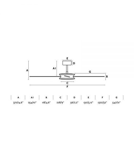 Medidas ventilador marrón motor DC 132 cm diámetro POLEA