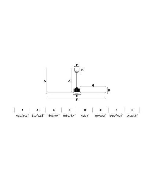 Medidas ventilador motor DC pequeño 91 cm diámetro JUST FAN XS