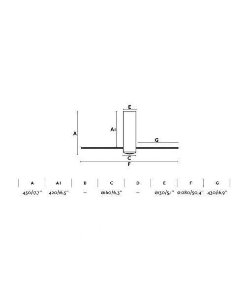 Medidas ventilador negro mate 128 cm diámetro TUBE FAN