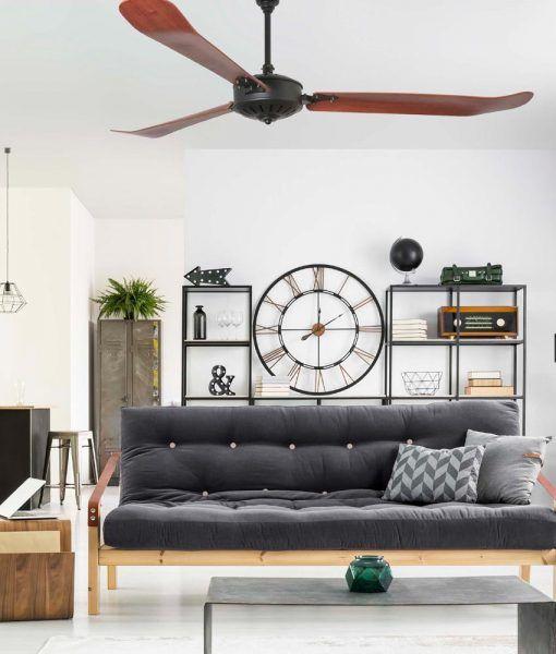 Ventilador negro y madera 180 cm de diámetro AOBA ambiente