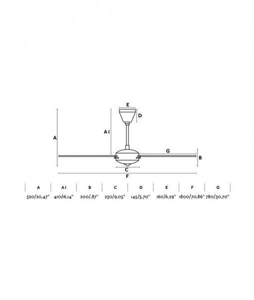Medidas ventilador negro y madera 180 cm de diámetro AOBA