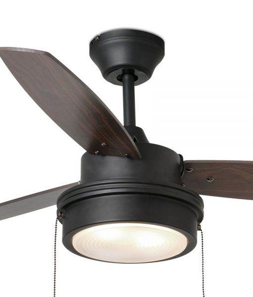 Ventilador negro y nogal 106 cm diámetro KOMODO detalles