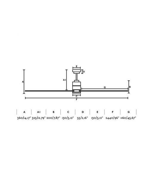 Medidas ventilador níquel grande 244 cm de diámetro MANHATTAN
