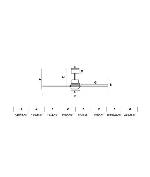Medidas ventilador níquel y madera 106 cm diámetro MINI LANTAU