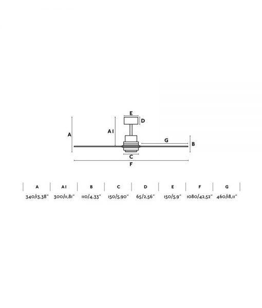 Medidas ventilador níquel y pino 106 cm diámetro MINI LANTAU