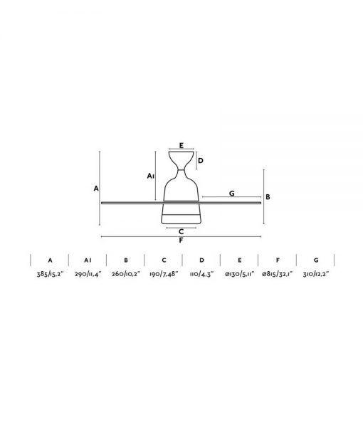 Medidas ventilador pequeño níquel 81 cm diámetro MEDITERRANEO