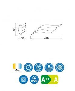 Medidas aplique aluminio blanco TAHITI LED
