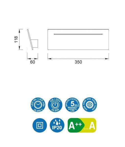 Medidas aplique blanco 8W luz neutra TOJA LED
