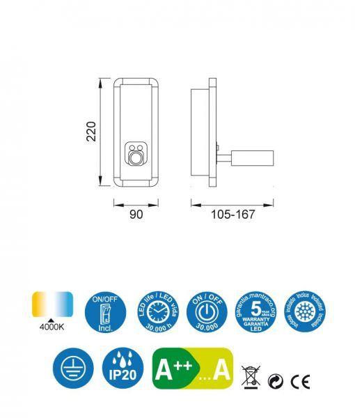 Medidas aplique blanco IBIZA LED
