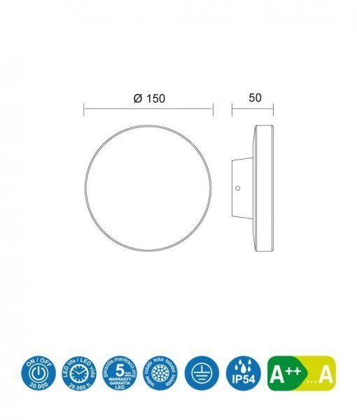 Medidas aplique circular LED BORA