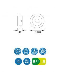 Medidas aplique circular níquel satinado SOL LED