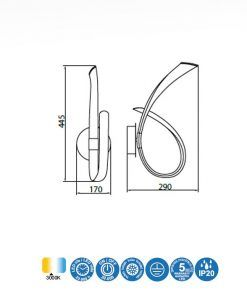 Medidas aplique cromo y blanco ARMONIA LED