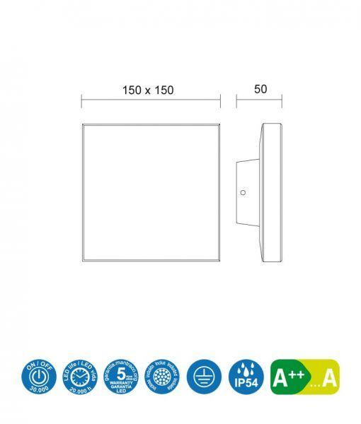 Medidas aplique cuadrado LED gris oscuro BORA