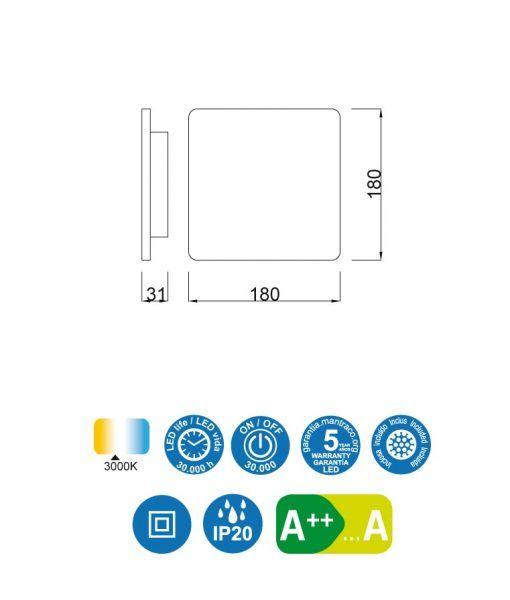 Medidas aplique cuadrado LED plata BORA BORA