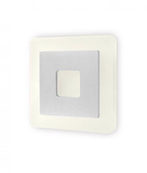 Aplique cuadrado níquel satinado SOL LED detalle luz