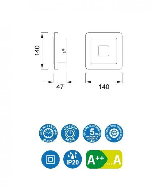 Medidas aplique cuadrado níquel satinado SOL LED