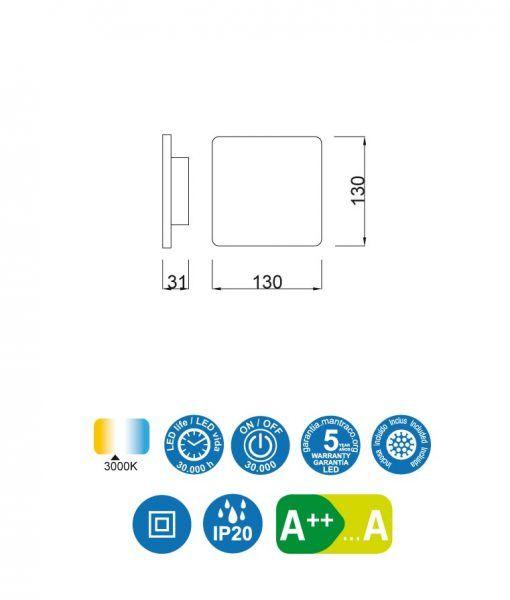 Medidas aplique cuadrado plata BORA BORA LED