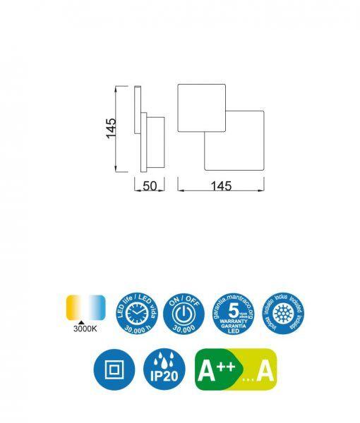 Medidas aplique doble cuadrado blanco TAHITI LED