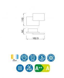 Medidas aplique doble rectángulo blanco TAHITI LED