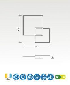 Medidas aplique grande blanco mate MURAL LED