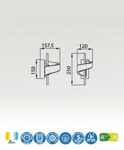 Medidas aplique LED blanco TSUNAMI